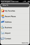 Sprint Navigation for webOS - Destinations Menu