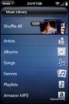 webOS Music Player - Main Menu